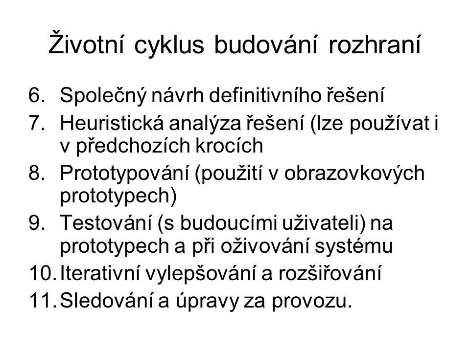 Životní cyklus budování rozhraní 6.Společný návrh definitivního řešení 7.Heuristická analýza řešení (lze používat i v předchozích krocích 8.Prototypov
