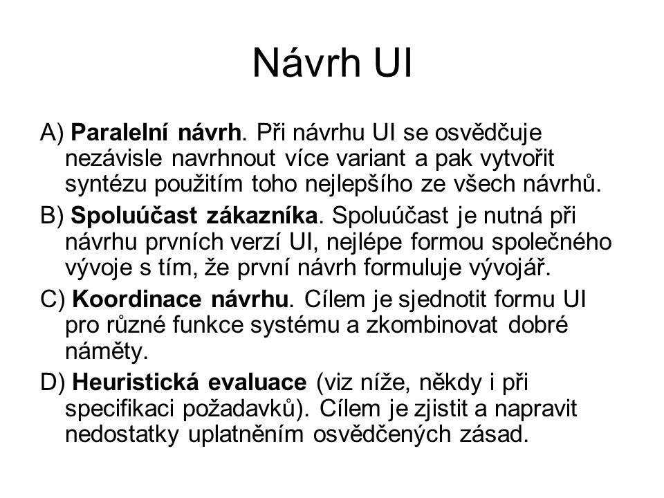 Návrh UI A) Paralelní návrh. Při návrhu UI se osvědčuje nezávisle navrhnout více variant a pak vytvořit syntézu použitím toho nejlepšího ze všech návr