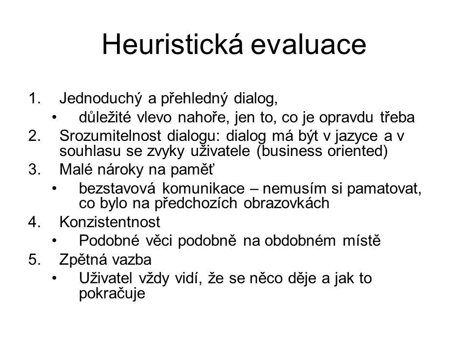 Heuristická evaluace 1.Jednoduchý a přehledný dialog, důležité vlevo nahoře, jen to, co je opravdu třeba 2.Srozumitelnost dialogu: dialog má být v jaz