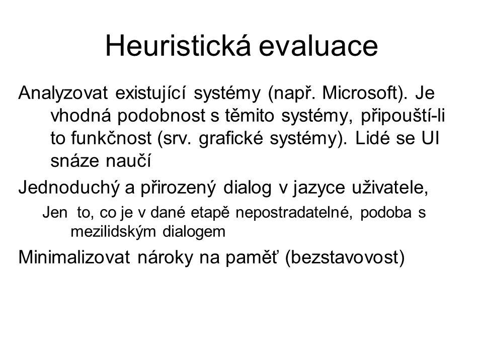 Heuristická evaluace Analyzovat existující systémy (např. Microsoft). Je vhodná podobnost s těmito systémy, připouští-li to funkčnost (srv. grafické s
