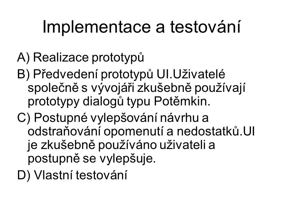 Implementace a testování A) Realizace prototypů B) Předvedení prototypů UI.Uživatelé společně s vývojáři zkušebně používají prototypy dialogů typu Pot
