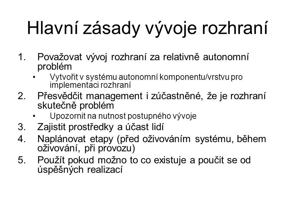 Hlavní zásady vývoje rozhraní 1.Považovat vývoj rozhraní za relativně autonomní problém Vytvořit v systému autonomní komponentu/vrstvu pro implementac