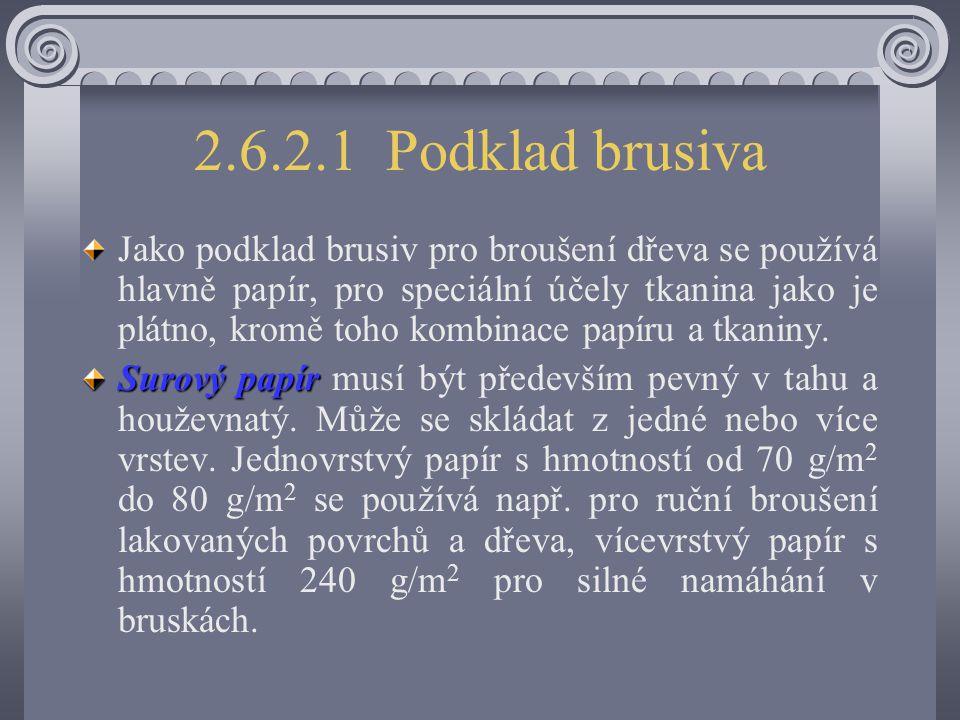 Brusné papíry a brusná zrna Obr. 150/1 Konstrukce a nános brusných papírů