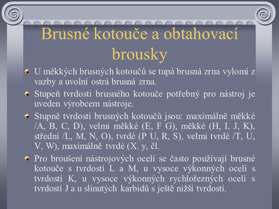 Brusné kotouče a obtahovací brousky Brusné kotouče mají rozdílnou tvrdost. Pod pojmem tvrdost brusného kotouče se nerozumí tvrdost jednotlivých brusný