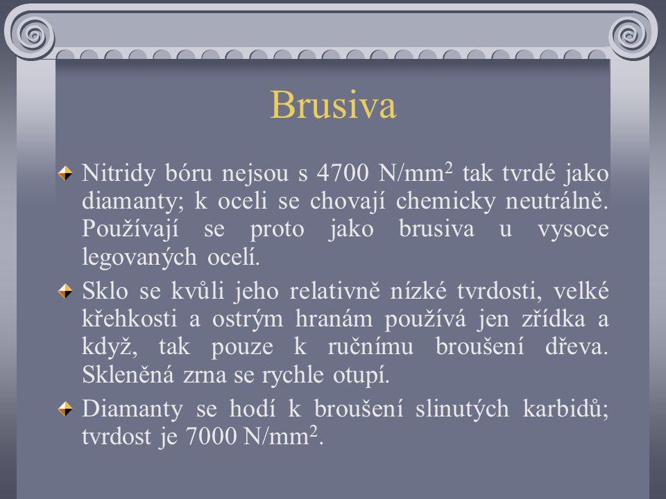 Brusiva Nitridy bóru nejsou s 4700 N/mm 2 tak tvrdé jako diamanty; k oceli se chovají chemicky neutrálně.