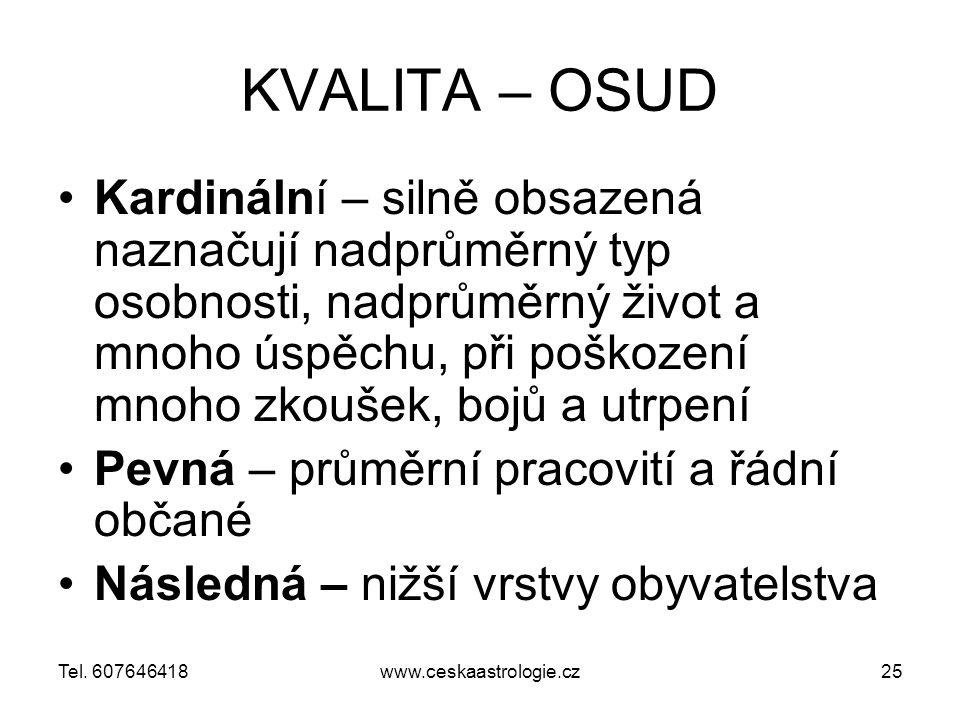 KVALITA – OSUD Kardinální – silně obsazená naznačují nadprůměrný typ osobnosti, nadprůměrný život a mnoho úspěchu, při poškození mnoho zkoušek, bojů a utrpení Pevná – průměrní pracovití a řádní občané Následná – nižší vrstvy obyvatelstva www.ceskaastrologie.cz25Tel.
