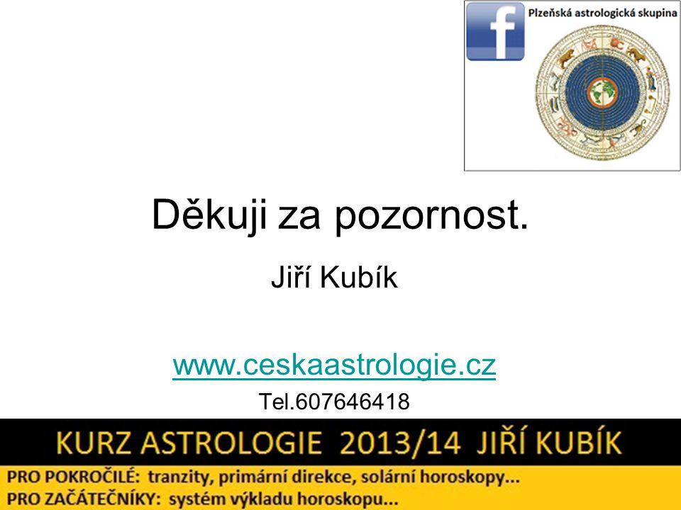 Děkuji za pozornost. Jiří Kubík www.ceskaastrologie.cz Tel.607646418