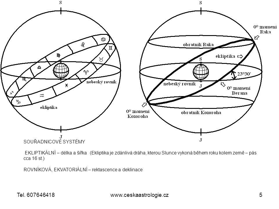 SOUŘADNICOVÉ SYSTÉMY EKLIPTIKÁLNÍ – délka a šířka (Ekliptika je zdánlivá dráha, kterou Slunce vykoná během roku kolem země – pás cca 16 st.) ROVNÍKOVÁ, EKVATORIÁLNÍ – rektascence a deklinace www.ceskaastrologie.cz5Tel.