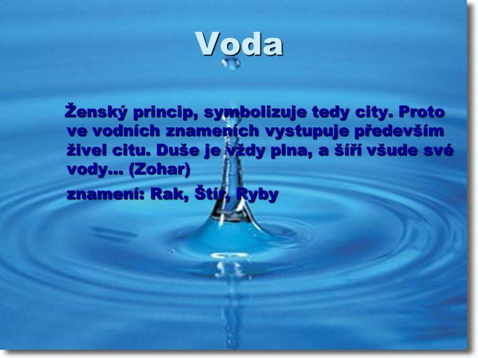 Voda Ženský princip, symbolizuje tedy city. Proto ve vodních znameních vystupuje především živel citu. Duše je vždy plna, a šíří všude své vody… (Zoha