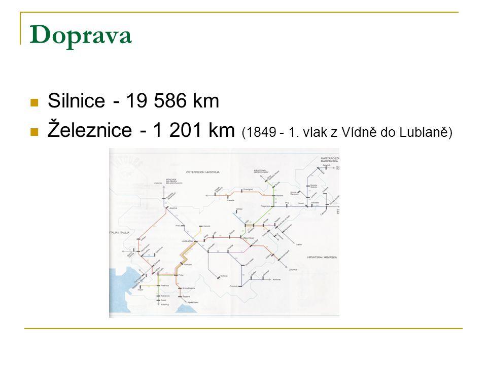 Doprava Silnice - 19 586 km Železnice - 1 201 km (1849 - 1. vlak z Vídně do Lublaně)