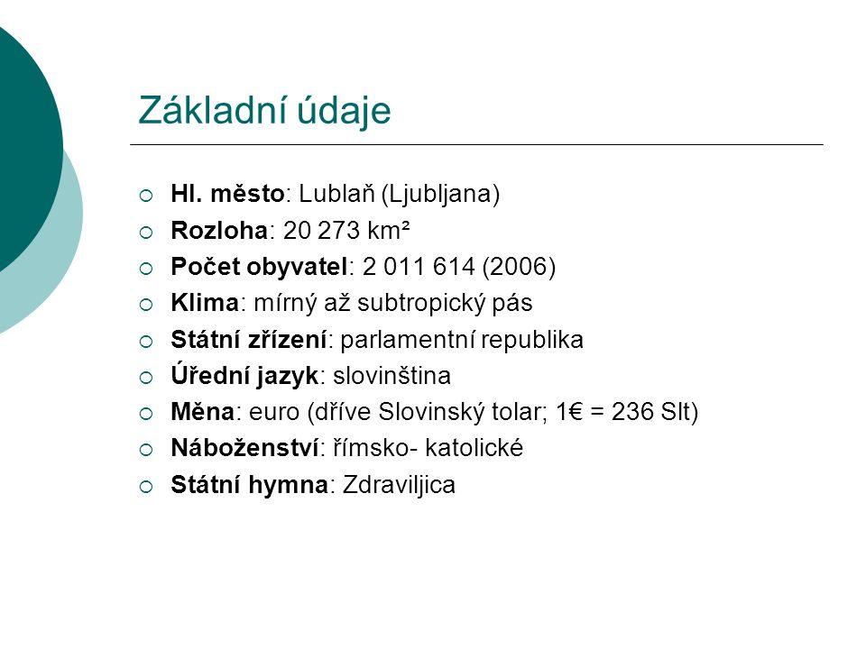 Základní údaje  Hl. město: Lublaň (Ljubljana)  Rozloha: 20 273 km²  Počet obyvatel: 2 011 614 (2006)  Klima: mírný až subtropický pás  Státní zří