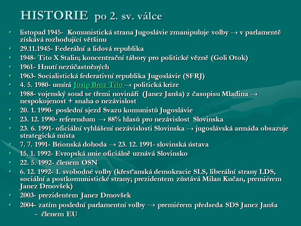 HISTORIE po 2. sv. válce listopad 1945- Komunistická strana Jugoslávie zmanipuluje volby → v parlamentě získává rozhodující většinulistopad 1945- Komu