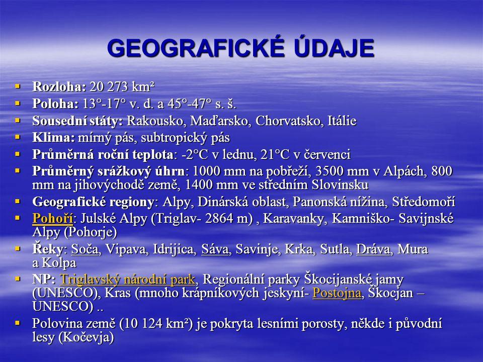 GEOGRAFICKÉ ÚDAJE  Rozloha: 20 273 km²  Poloha: 13°-17° v. d. a 45°-47° s. š.  Poloha: 13°-17° v. d. a 45°-47° s. š.  Sousední státy: Rakousko, Ma