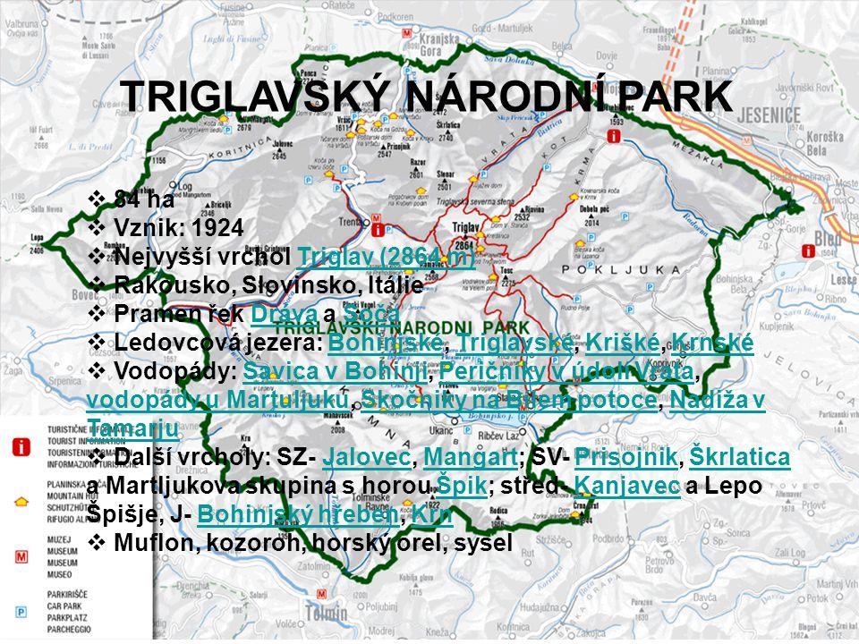  84 ha  Vznik: 1924  Nejvyšší vrchol Triglav (2864 m)Triglav (2864 m)  Rakousko, Slovinsko, Itálie  Pramen řek Dráva a SočaDrávaSoča  Ledovcová