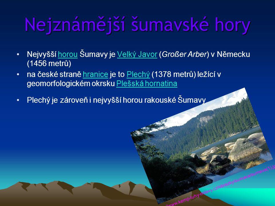 Nejznámější šumavské hory Nejvyšší horou Šumavy je Velký Javor (Großer Arber) v Německu (1456 metrů)horouVelký Javor na české straně hranice je to Ple
