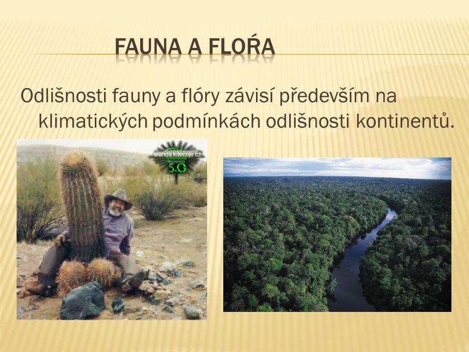 Odlišnosti fauny a flóry závisí především na klimatických podmínkách odlišnosti kontinentů.