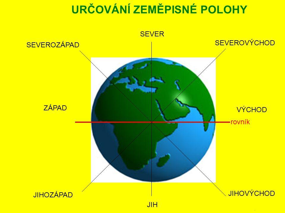 ROVNOBĚŽKY POLEDNÍKY rovník NAKRESLIT ZEMĚPISNÁ SÍŤ Číslo poledníku určuje zeměpisnou délku.