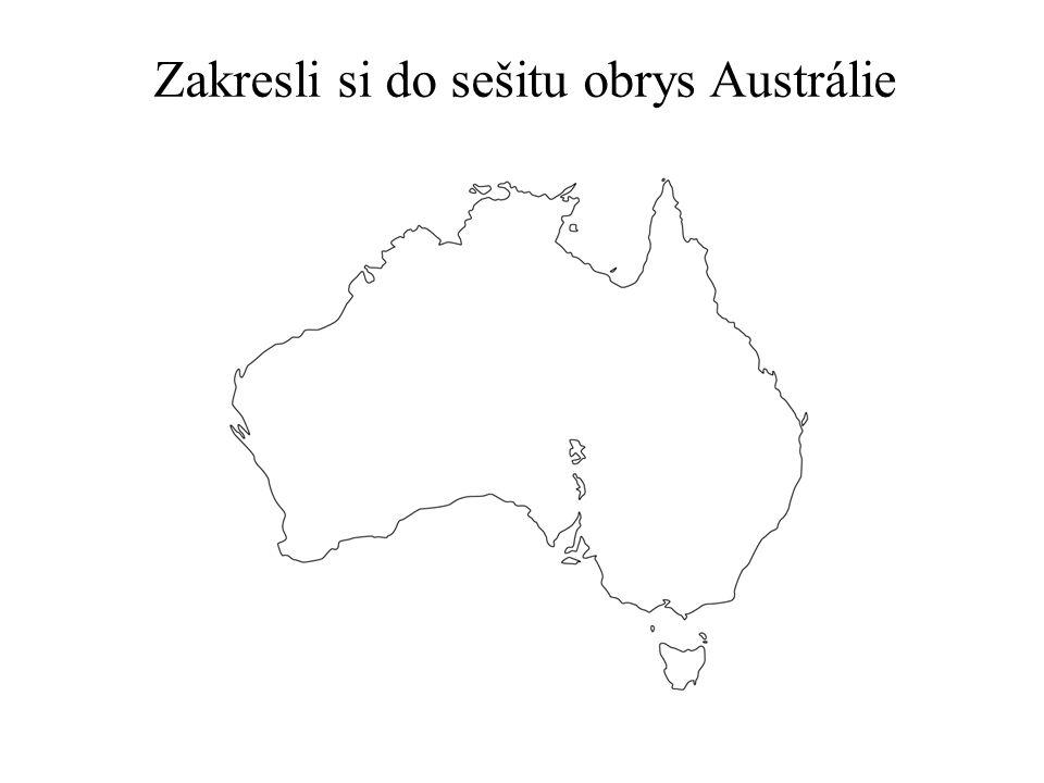 Zakresli do mapy důležité části povrchu Austrálie.
