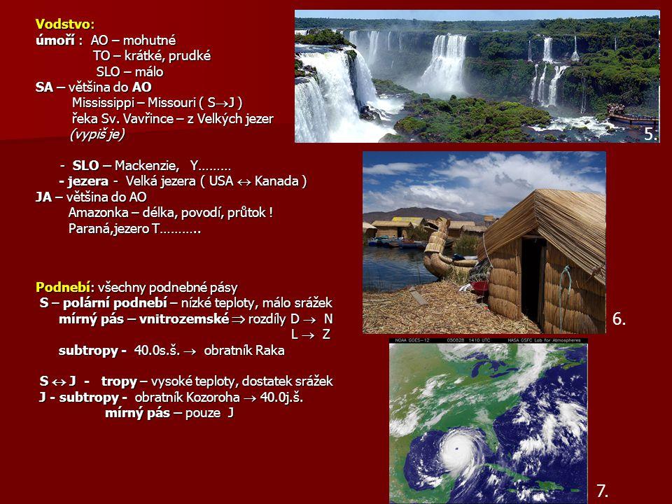 Vodstvo: úmoří : AO – mohutné TO – krátké, prudké TO – krátké, prudké SLO – málo SLO – málo SA – většina do AO Mississippi – Missouri ( S  J ) Missis