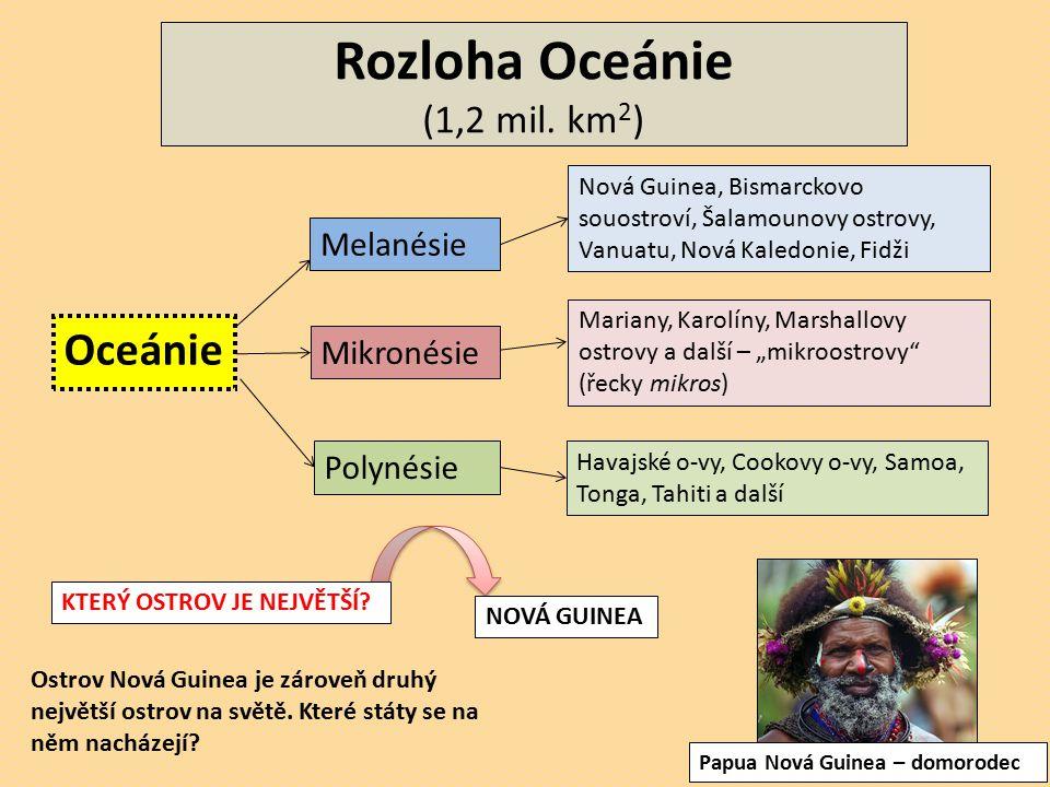 Rozloha Oceánie (1,2 mil. km 2 ) Oceánie Melanésie Mikronésie Polynésie Nová Guinea, Bismarckovo souostroví, Šalamounovy ostrovy, Vanuatu, Nová Kaledo