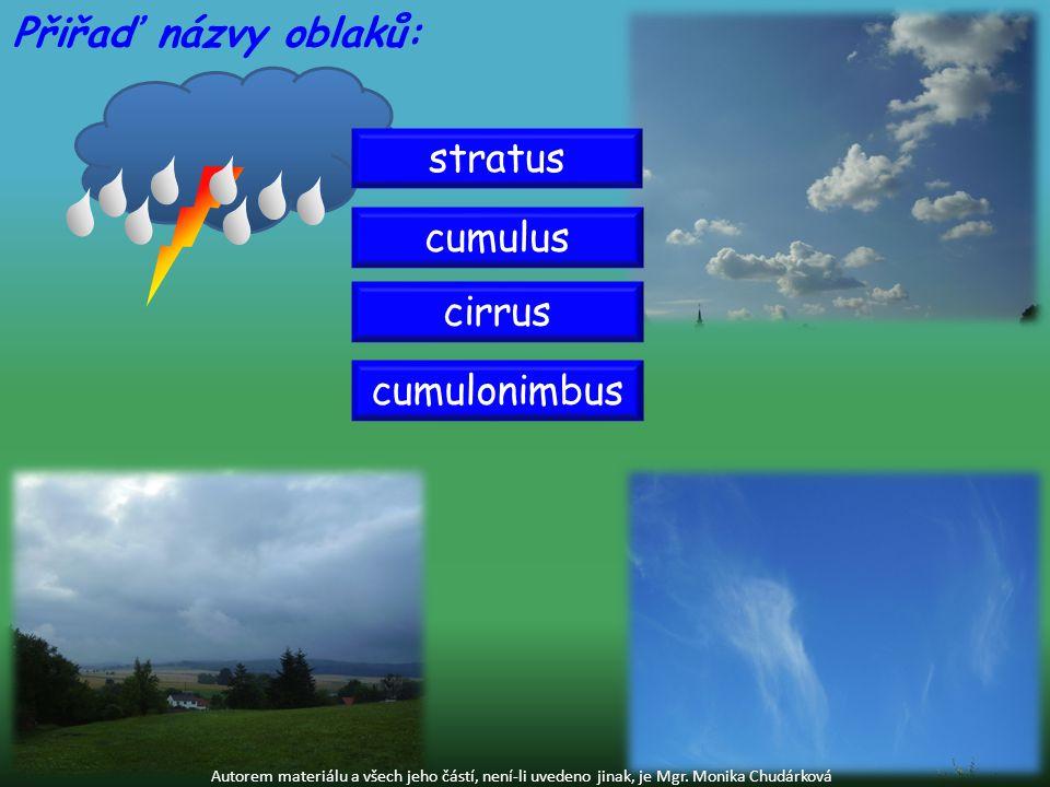 cumulonimbus Autorem materiálu a všech jeho částí, není-li uvedeno jinak, je Mgr. Monika Chudárková Přiřaď názvy oblaků: stratus cirrus cumulus