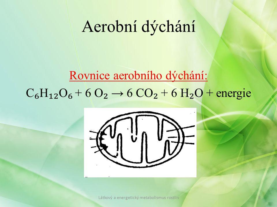 Rovnice aerobního dýchání: C ₆ H ₁₂ O ₆ + 6 O ₂ → 6 CO ₂ + 6 H ₂ O + energie 8Látkový a energetický metabolismus rostlin