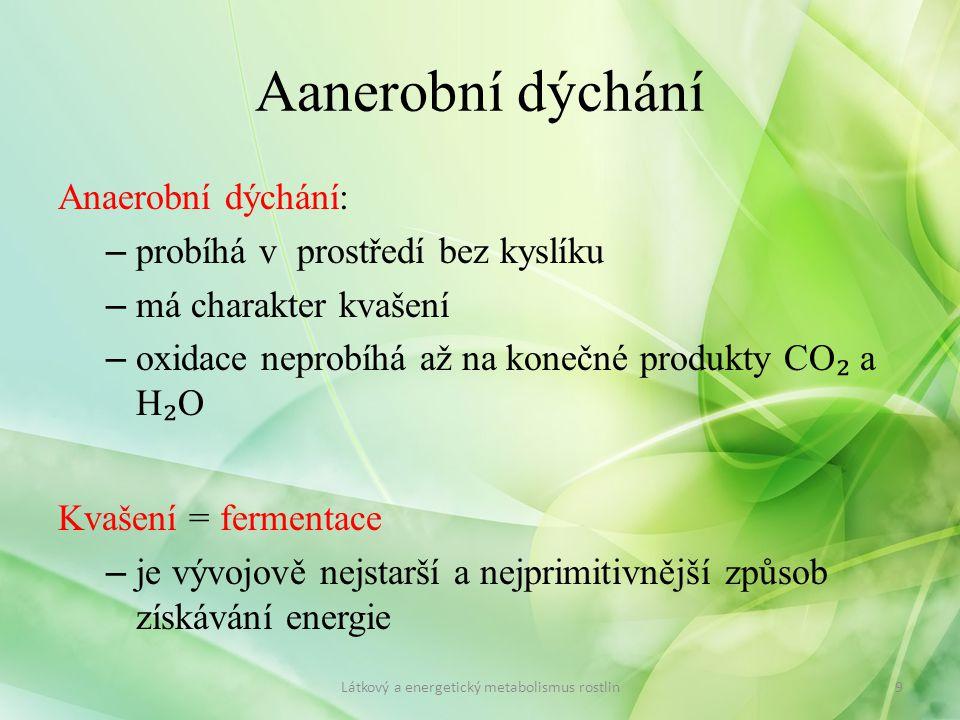 Aanerobní dýchání Anaerobní dýchání: – probíhá v prostředí bez kyslíku – má charakter kvašení – oxidace neprobíhá až na konečné produkty CO ₂ a H ₂ O