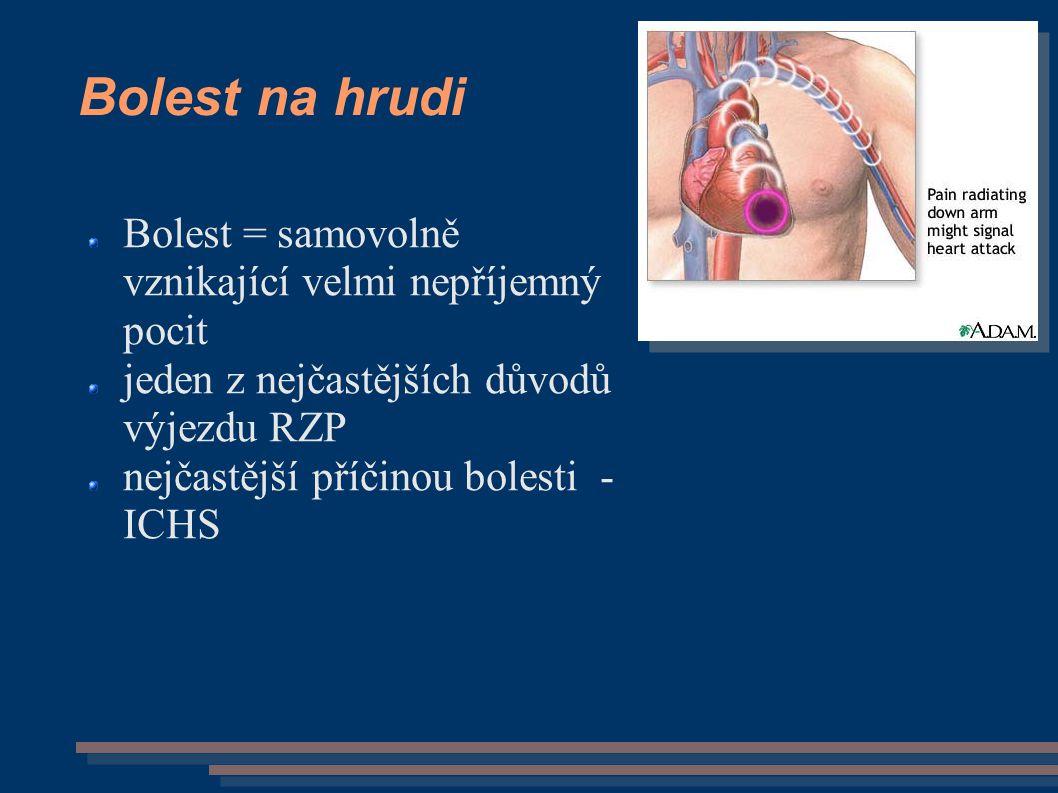 Ostatní bolesti (na) hrudníku: zánět plic, pohrudnice pleurodynie = bolest pleury bolesti stěny hrudní bolesti zad gastroesofageální reflux bolest následkem úrazu:  zlomeniny žeber  PNO - uzavřený, otevřený, ventilový