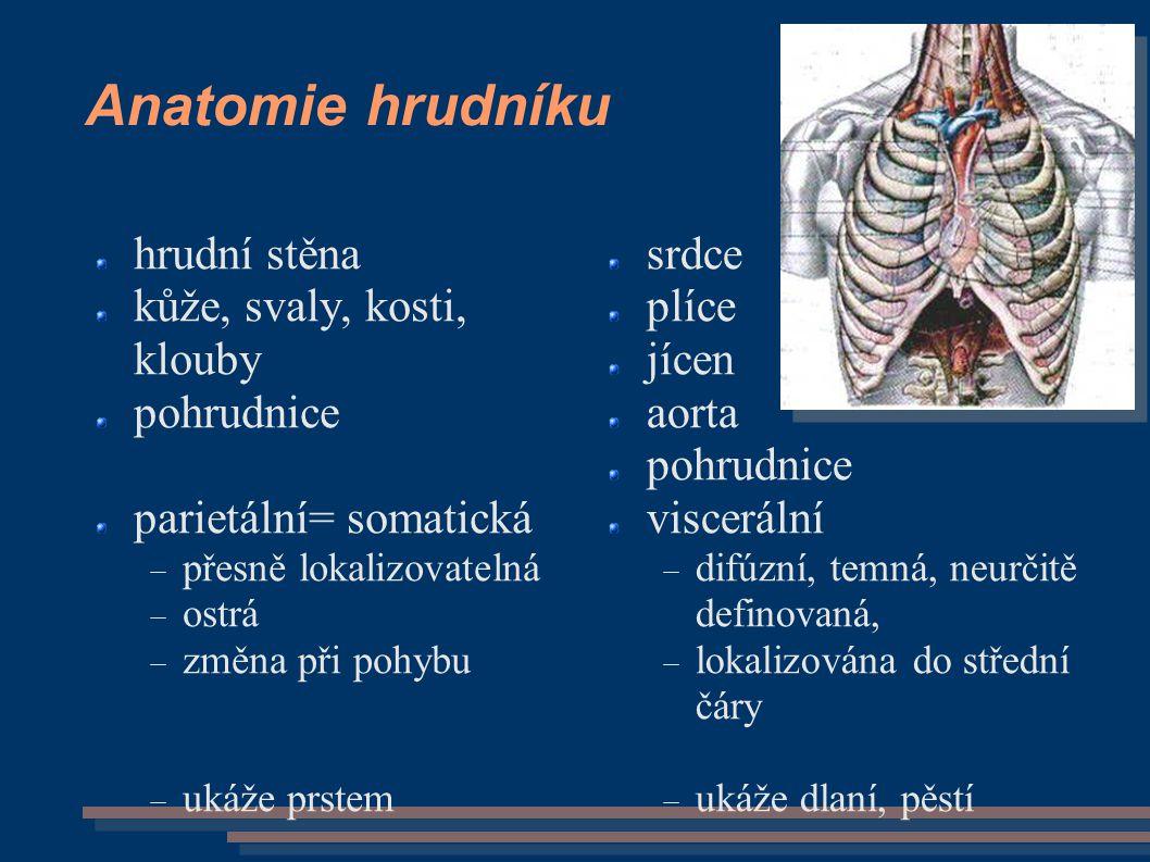 Anatomie hrudníku hrudní stěna kůže, svaly, kosti, klouby pohrudnice parietální= somatická  přesně lokalizovatelná  ostrá  změna při pohybu  ukáže prstem srdce plíce jícen aorta pohrudnice viscerální  difúzní, temná, neurčitě definovaná,  lokalizována do střední čáry  ukáže dlaní, pěstí