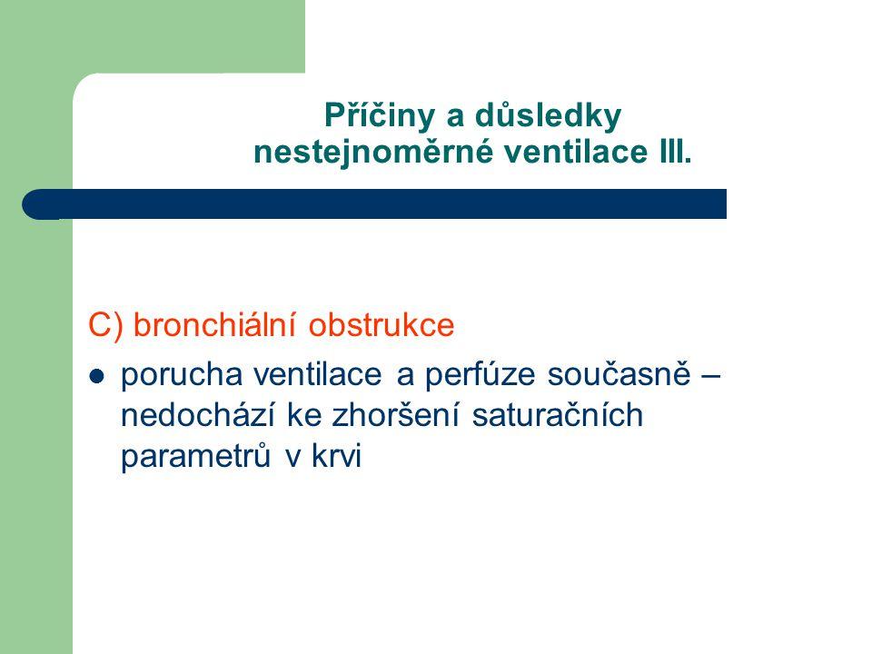 Příčiny a důsledky nestejnoměrné ventilace III. C) bronchiální obstrukce porucha ventilace a perfúze současně – nedochází ke zhoršení saturačních para