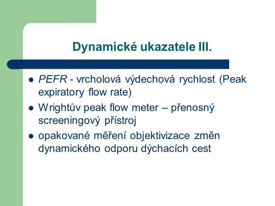 Dynamické ukazatele III. PEFR - vrcholová výdechová rychlost (Peak expiratory flow rate) Wrightův peak flow meter – přenosný screeningový přístroj opa
