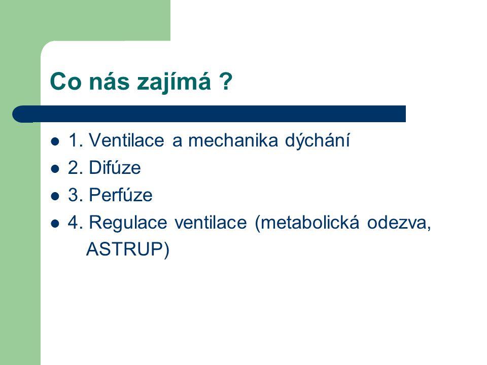 1. Ventilace a mechanika dýchání 2. Difúze 3. Perfúze 4. Regulace ventilace (metabolická odezva, ASTRUP) Co nás zajímá ?