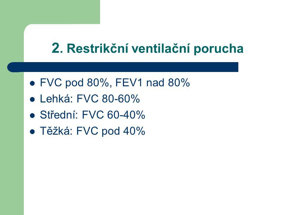 2. Restrikční ventilační porucha FVC pod 80%, FEV1 nad 80% Lehká: FVC 80-60% Střední: FVC 60-40% Těžká: FVC pod 40%