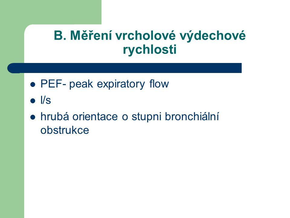 B. Měření vrcholové výdechové rychlosti PEF- peak expiratory flow l/s hrubá orientace o stupni bronchiální obstrukce