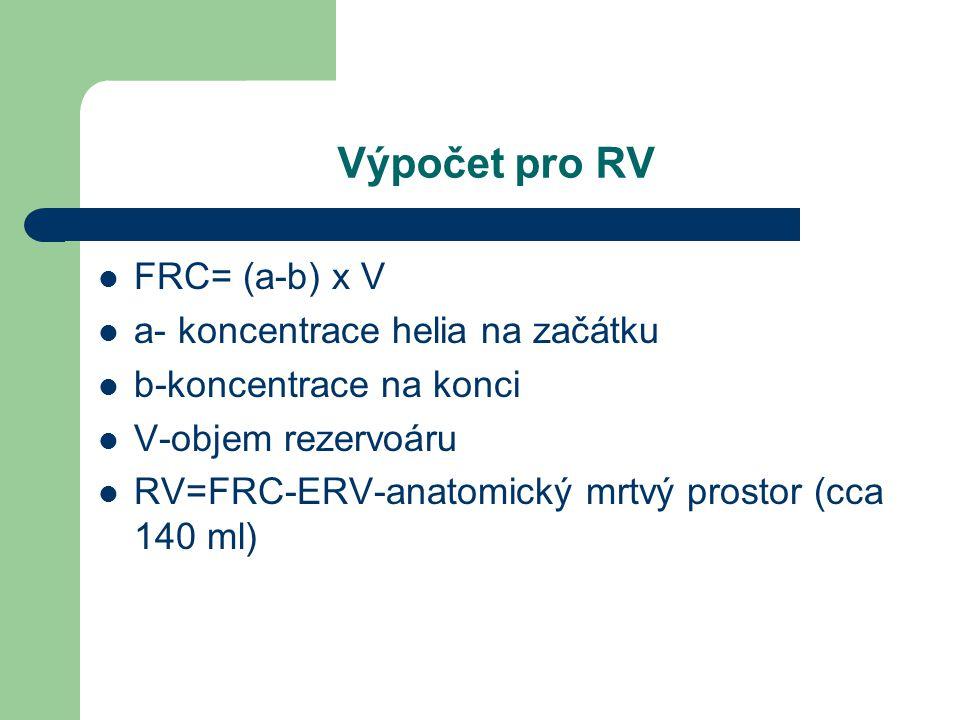 Výpočet pro RV FRC= (a-b) x V a- koncentrace helia na začátku b-koncentrace na konci V-objem rezervoáru RV=FRC-ERV-anatomický mrtvý prostor (cca 140 m