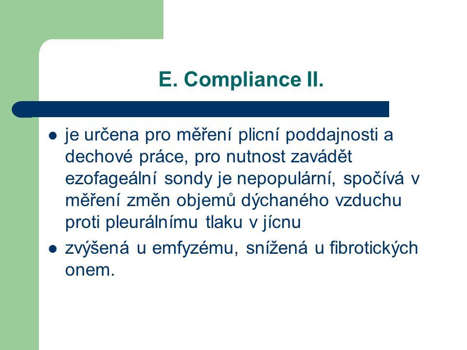 E. Compliance II. je určena pro měření plicní poddajnosti a dechové práce, pro nutnost zavádět ezofageální sondy je nepopulární, spočívá v měření změn