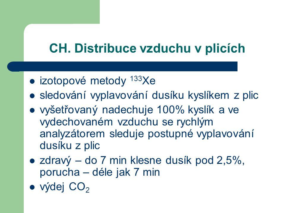 CH. Distribuce vzduchu v plicích izotopové metody 133 Xe sledování vyplavování dusíku kyslíkem z plic vyšetřovaný nadechuje 100% kyslík a ve vydechova