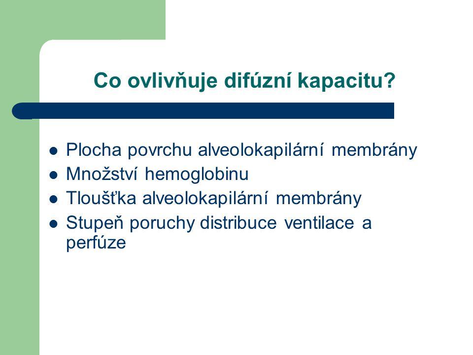 Co ovlivňuje difúzní kapacitu? Plocha povrchu alveolokapilární membrány Množství hemoglobinu Tloušťka alveolokapilární membrány Stupeň poruchy distrib