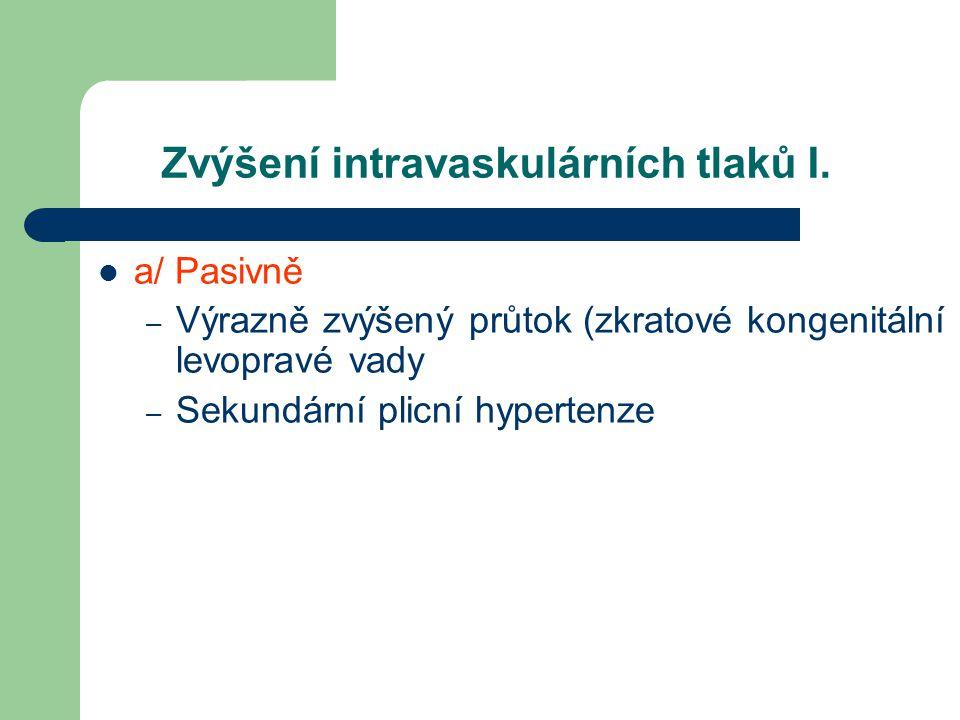 Zvýšení intravaskulárních tlaků I. a/ Pasivně – Výrazně zvýšený průtok (zkratové kongenitální levopravé vady – Sekundární plicní hypertenze