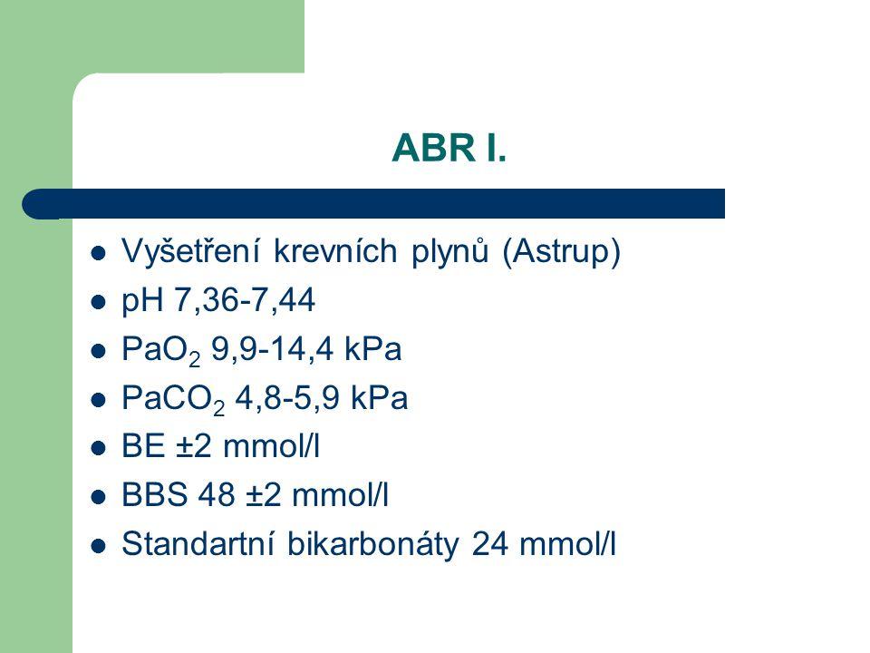 ABR I. Vyšetření krevních plynů (Astrup) pH 7,36-7,44 PaO 2 9,9-14,4 kPa PaCO 2 4,8-5,9 kPa BE ±2 mmol/l BBS 48 ±2 mmol/l Standartní bikarbonáty 24 mm