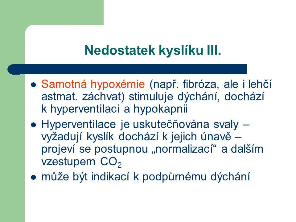 Nedostatek kyslíku III. Samotná hypoxémie (např. fibróza, ale i lehčí astmat. záchvat) stimuluje dýchání, dochází k hyperventilaci a hypokapnii Hyperv
