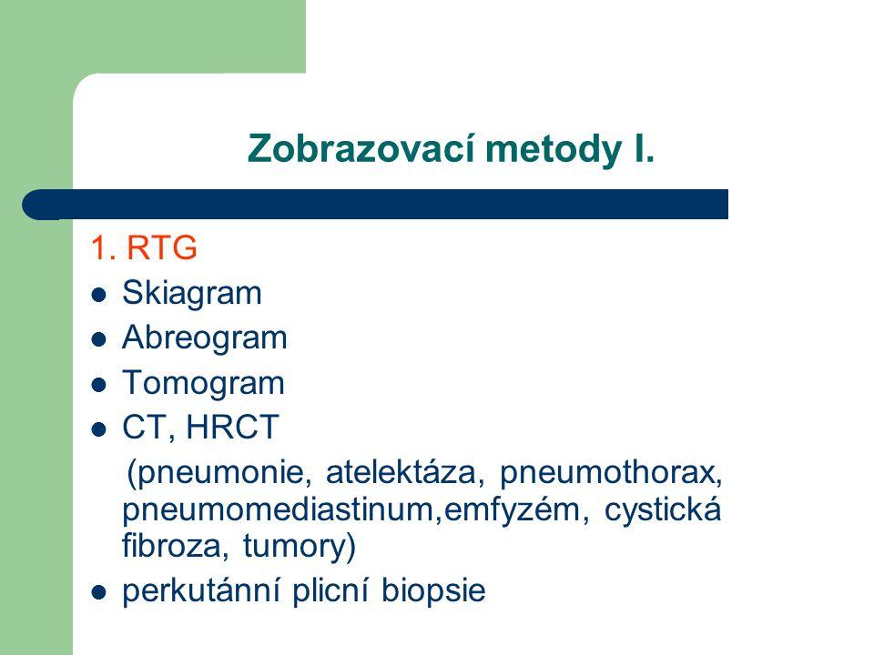 Zobrazovací metody I. 1. RTG Skiagram Abreogram Tomogram CT, HRCT (pneumonie, atelektáza, pneumothorax, pneumomediastinum,emfyzém, cystická fibroza, t