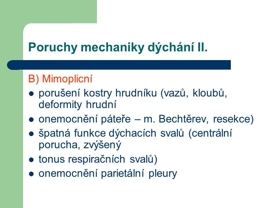 Poruchy mechaniky dýchání II. B) Mimoplicní porušení kostry hrudníku (vazů, kloubů, deformity hrudní onemocnění páteře – m. Bechtěrev, resekce) špatná