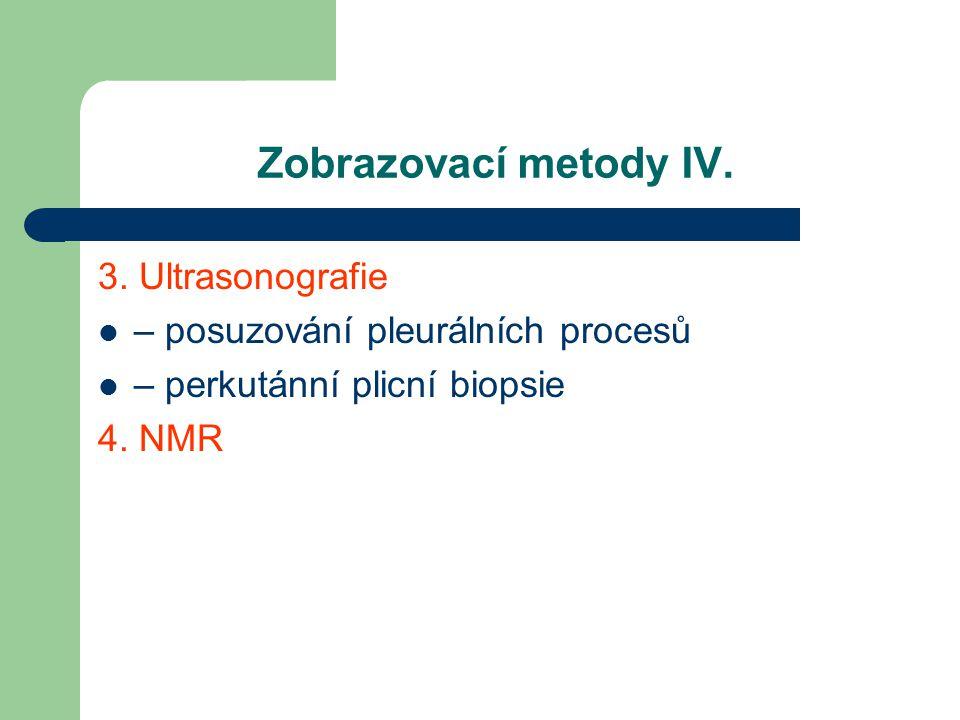 Zobrazovací metody IV. 3. Ultrasonografie – posuzování pleurálních procesů – perkutánní plicní biopsie 4. NMR