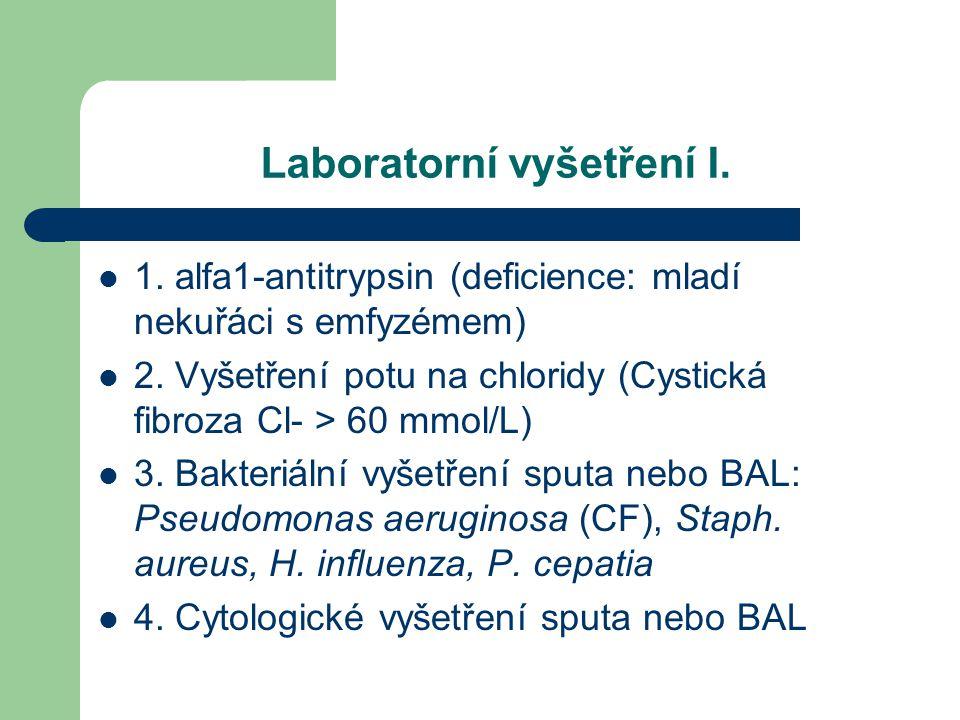 Laboratorní vyšetření I. 1. alfa1-antitrypsin (deficience: mladí nekuřáci s emfyzémem) 2. Vyšetření potu na chloridy (Cystická fibroza Cl- > 60 mmol/L