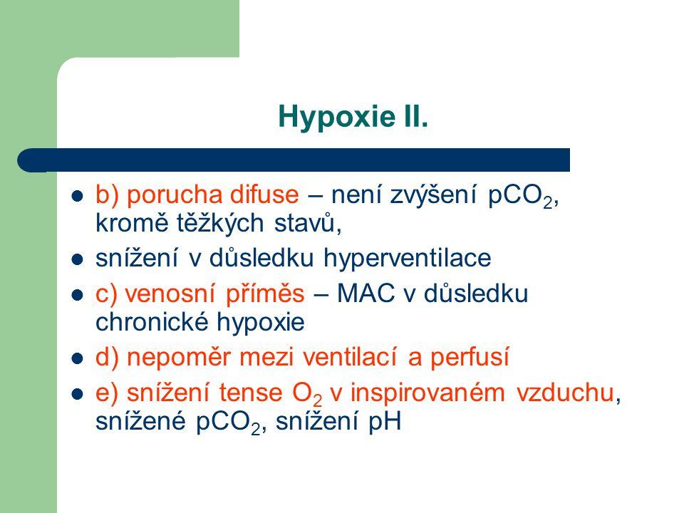 Hypoxie II. b) porucha difuse – není zvýšení pCO 2, kromě těžkých stavů, snížení v důsledku hyperventilace c) venosní příměs – MAC v důsledku chronick