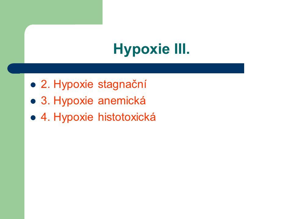 Hypoxie III. 2. Hypoxie stagnační 3. Hypoxie anemická 4. Hypoxie histotoxická