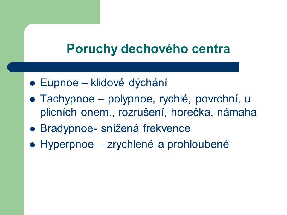 Poruchy dechového centra Eupnoe – klidové dýchání Tachypnoe – polypnoe, rychlé, povrchní, u plicních onem., rozrušení, horečka, námaha Bradypnoe- sníž