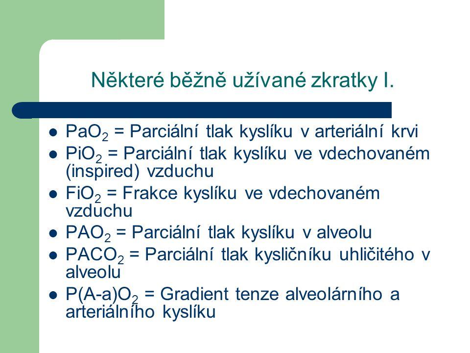 Některé běžně užívané zkratky I. PaO 2 = Parciální tlak kyslíku v arteriální krvi PiO 2 = Parciální tlak kyslíku ve vdechovaném (inspired) vzduchu FiO