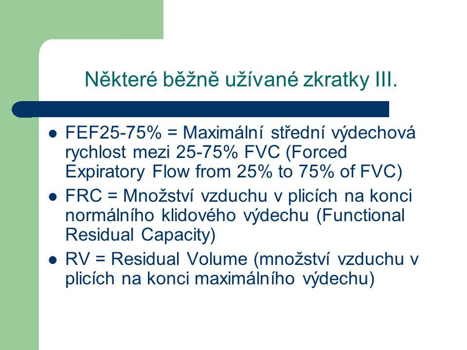Některé běžně užívané zkratky III. FEF25-75% = Maximální střední výdechová rychlost mezi 25-75% FVC (Forced Expiratory Flow from 25% to 75% of FVC) FR